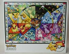 NIB Buffalo Games Pokemon Puzzle 2000 Pieces Eevee Stained Glass 02300