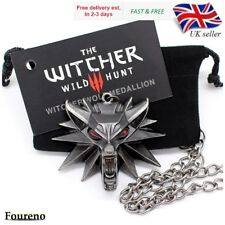 Witcher 3 Necklace Medallion | Geralt Wolf Pendant + Chain, Card and Gift Bag