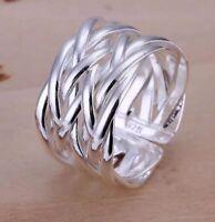 Silberring Geflochten Mehrreihig Vintage Damen Ring Silber 925 Größenverstellbar