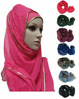 Big Large Maxi Long Wide Plain With Golden Border Viscose Scarf Hijab Shawl Wrap