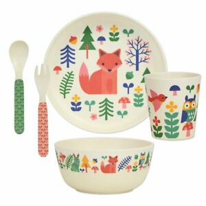 Petit Collage Bamboo Dinnerware Set, 5 Piece, BPA-Free, Dinosaur, World - NEW