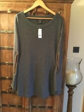 Banana Republic M/L Grey Knitted Poncho Cape Knitwear With Leather Trim BNWT