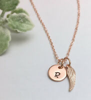 Rose Gold Tone Personalised Initial Necklace Angel Wing Charm Gift Box