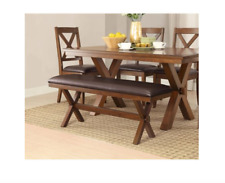 Rustic Dining Table Farmhouse Wooden Farm House Trestle Set Upholstered Bench