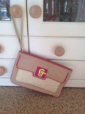 GREAT JUICY COUTURE BEIGE LEATHER WRISTLET USED GOOD CONDITION