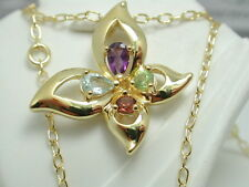 18k Yellow GP Genuine Blue Topaz Garnet Amethyst Peridot Flower Necklace