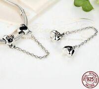 Mickey & Minnie Disney Bracelet Safety Chain 925 Sterling Silver Daughter xmas