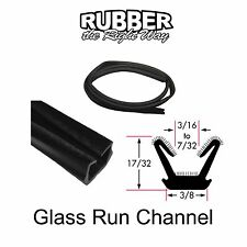 """Universal Window Run Channel - Flexible - 17/32"""" Tall 3/8"""" Wide at Base"""