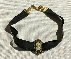 Beautiful Necklace Black Fabric Chocker Style With Cameo