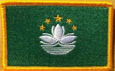 Macau Flag Embroidered Iron-On Patch China Province Military Emblem Gold Border