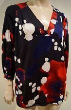 DVF Diane Von Furstenberg Nero & Multi-colore Astratto Stampa Blusa Top 10 UK14