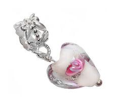 Pink Clear White Murano Glass Heart Dangle Bead fits European Charm Bracelets