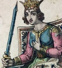 1835 Italy Queen of Swords Gumpennberg Neo-Classical Tarot Playing Cards Single