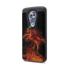 Cute Woven Slim Black Case Motorola Moto G7 Optimo Maxx XT1955 - Fire Horse