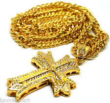 Quality 18K Gold Filled Jesus Cross Pendant Clear Multi-crystal Cuban Curb Chain