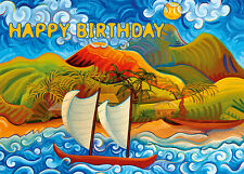 4 GREETING CARDS Hawaiian HAPPY BIRTHDAY Ka Nani O Ke Akua by Ken Loyd