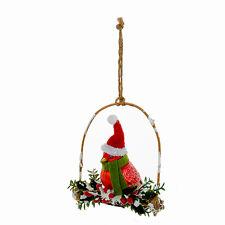 KURT ADLER FESTIVE GLASS RED CARDINAL ON TWIG BIRD SWING XMAS TREE ORNAMENT B