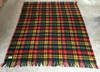 50's  Vintage Faribo 100% Wool Plaid Stadium Throw Blanket carrying case 63 X 54