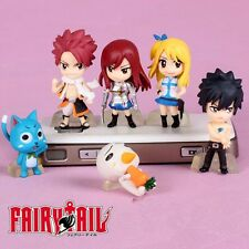 Fairy Tail Natsu Happy Lucy Gray Elza Charactor 3-5cm Figure 6pcs Set Collection