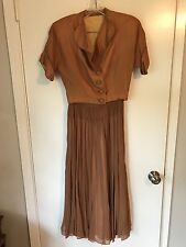 Vintage Very Old Handmade Antique Dress with Jacket and Belt, Brown/Bronze