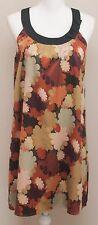 BCBG Maxazria Dress Medium Gold Orange Floral Sleeveless Scoop Neck Shift