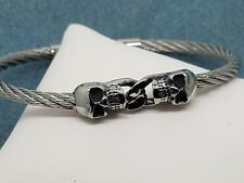 Unisex Double Skull Head Stainless Steel Twisted Cable Fashion Bracelet Bangle