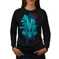 Wellcoda Japanese Death Skull Womens Sweatshirt, Ancient Casual Pullover Jumper