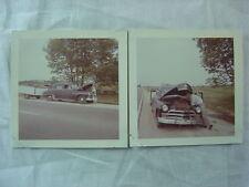 Vintage Car Photos 1950 Plymouth w/ Travel Trailer Repair on Roadside 791102