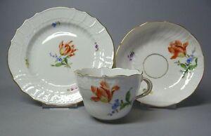 (G2898) Meissen Kaffeegedeck 3-teilig, bunte Blumenmalerei,' Neubrandenstein '