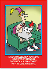 B1988 Box Set of 12 Cock in Hand Humorous New Year Paper Cards with Envelopes