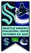 Seattle Kraken Inaugurale Jeu Souvenir Broche NHL Banner Style Vancouver Canucks
