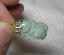 Antique Jade 14K Gold Carved Necklace Pendant Jewelry China