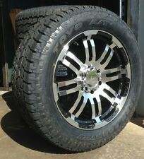 """20"""" Vision Black Wheels Rims Toyo AT2 Tires Package 6x5.5 6 lug Chevy GM Truck"""