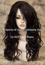 Heat Friendly Long Wavy Curly side Skin Part  Dark Brown Wig Flat iron wd  4