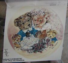 "Bride & Groom Teddy Bears ~ Rub On Tatouage ~ Bears & Cubs ~ Wedding ~ 7-1/4"""