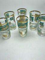 "Libbey Retro Steamboat 5 3/4"" Glasses 1960's Set of 6 Aqua/Gold Tom Collins"