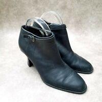 "Nine & Company Womens Damaso Sz 9.5 M Black Leather 3"" Heeled Ankle Boot Booties"