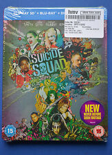 Suicide Squad Steelbook Bluray 3D+2D UK HMV Edition Region B *New* Margot Robbie