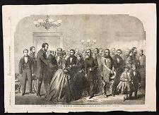 1862 Newspaper Print New Year Reception at White House Washington, Lincoln A3BK5