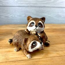 Homco Vintage Raccoons Figurine 1454 Playful Babies Collectible Porcelain