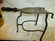 "Antique wrought iron and brass pot or kettle warming trivet stand - 14"" x 10"""