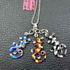 Colorful Enamel Cute Lizard Gecko Betsey Johnson Chain Necklace
