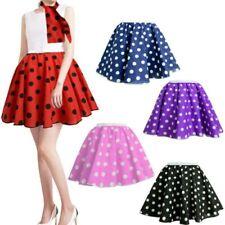 Ladies 17''/21'' Polka Dot Rock N Roll Fancy Skirt & Scarf Set 1950s - 60s 24/10