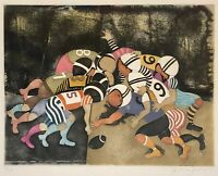 BOULANGER Hand SIGNED & Numbered Framed Lithographic Print of Football Players