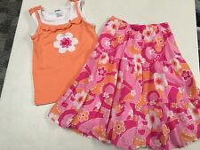 Gymboree Rainbow Cabana Flower Tank Top Shirt & Longer Skirt Girls Sz 4
