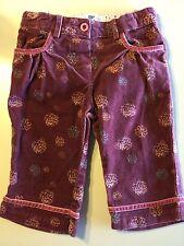 *Deux Par Deux* Girls Dusty Rose Floral Corduroy Pants Velour Trim Size 6 Months