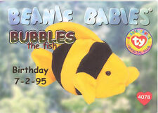 TY Beanie Babies BBOC Card - Series 1 Birthday (RED) - BUBBLES the Fish - NM/M