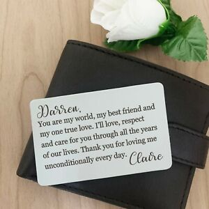 Personalised Wallet Card Insert - I Love You Gifts for Him/Her Anniversary Gift