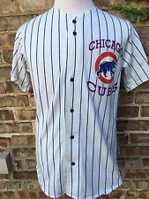 Vtg Retro Chicago Cubs Button Up Striped Jersey 80s 90s Sandberg Dawson