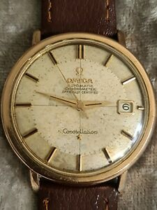 18K Gold and Stainless OMEGA CONSTELLATION PIE PAN DATE Automatic Chronometer